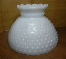 "VINTAGE HEAVY SHADE 5-5/8""x 8"" OIL LAMP SCONCE WHITE CRYSTAL PIE CRUST TOP"