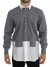 NWT $500 DOLCE & GABBANA White Gray Dotted Cotton Casual Shirt Top s. 38 / XS