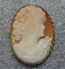 antique  carved shell cameo gold filled pendant
