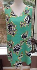 WAREHOUSE Green Floral Shift Dress  - Size 16 - Races, Wedding, Work