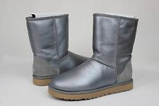 UGG CLASSIC SHORT METALLIC NICKEL SUEDE SHEEPSKIN BOOTS WOMENS SIZE 8 US