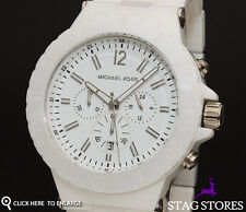 Michael Kors MK8177 White Ceramic Chronograph Unisex Designer Watch RRP £379