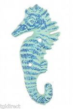 "Cast Iron Wall Hook Blue Seahorse 5.5"" Tall Nautical Beach Towel Coat Hanger"