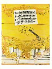 """1970 Vintage RAOUL DUFY """"YELLOW CONSOLE WITH VIOLIN"""" COLOR offset Lithograph"""