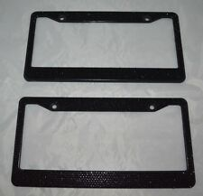 2 Black Bling Glitter Crystal RhineStone License Plate Frame Car Auto
