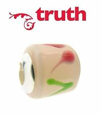 Genuine TRUTH PK 925 sterling silver pink flower murano glass charm bead