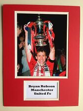 """Manchester United Bryan Robson Signed 16"""" X 12"""" Double Mounted Display"""