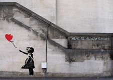 Banksy Poster - Girl with Balloon, There's always Hope -  Graffiti art print