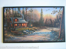 Log Cabin Sign rustic country lodge wall decor plaque scenery wooden picture
