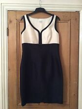 Hobbs Navy Cream Bow Silk Wool Mix Shift Wedding Mother Of The Bride Dress 12