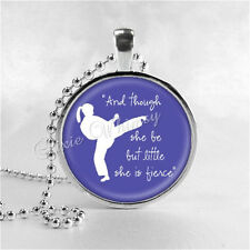 KARATE GIRL Necklace, And Though She Be But Little She Is Fierce, Glass Photo Ar
