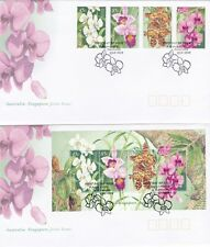 Australia 1998 Singapore Joint Issue FDC Native Orchid Stamps & MS