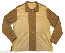 NAT NAST Honey Brown / Tan SUEDE LEATHER Color Block SHIRT JACKET Sz L LARGE EUC