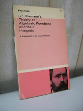 Felix Klein : On Riemann's theory of algebraic functions and their integrals