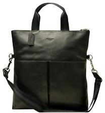 NEW COACH Men's Leather Foldover business Tote Crossbody Messenger Bag Black