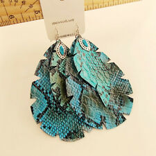 New Deisign Multilayers Leather Large Size Dangle Statement Earrings Drop Hook