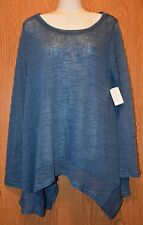Womens Pretty Blue Semi Sheer Knit All At Once Shirt Size Medium NWT NEW