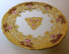 Exquisite Antique Nippon MORIAGE Plate Gold Gilt Pink Roses Rococo Japan China