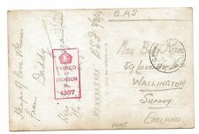 WW1 'Roses' French Active Service Postcard 1918 to Wallington Surrey Censored