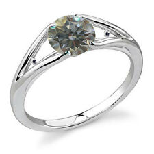 1.14 ct si2/WHITE GRAY BLUE MOISSANITE & NATURAL BLACK DIAMOND .925 SILVER RING