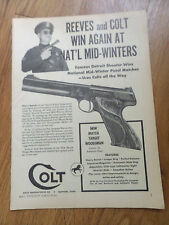 1949 Colt Caliber 22 Automatic Pistol Match Target Woodsman Ad Reeves & Colt Win