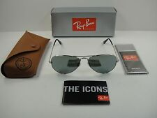 RAY-BAN AVIATOR SUNGLASSES RB3025 W3277 SILVER FRAME/GREY MIRROR LENS 58MM NEW!