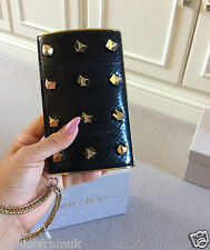 "£1095 JIMMY CHOO ""CARMEN"" Black snakeskin Gold Stud CLUTCH"