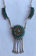 Vintage Signed ZUNI Sterling Silver & Turquoise Fine Needlepoint Necklace