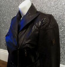 Gorgeous Belstaff Cropped Leather Gold Label Jacket with Belt Small UK8 IT40