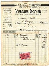 FACTURE VERDIER BOYER CLERMONT FERRAND  TIMBRE FISCAL PLUS DOCUMENTS