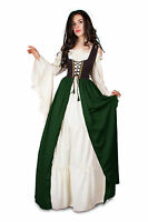 Renaissance Medieval Irish Costume Two-Toned Black Fitted Bodice OVER Dress.