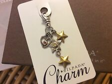 Silpada Charm C2568 SHOOT FOR THE STARS .925 Sterling Silver Brass Clip On