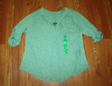 NWT Womens NINE WEST Mint Green Laelia Lace Front 3/4 Sleeve Shirt Size L Large