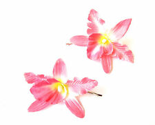 2 x Pink Cattleya Tropical Orchid Flower Hair Grips Clips Bobby Pins Slides 2144