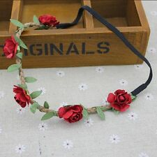Red Women Girl's Flower Head Hollow Elastic Hair Band Headband Wedding Party