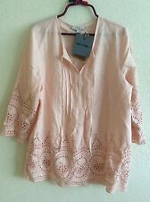 Rose & Thyme Peasant Top Blouse Tunic Shirt Boho Peach L Large Eyelet NEW #V0816