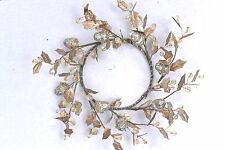GISELA GRAHAM CHRISTMAS GOLD/SILVER TIN LEAF /ACORN WREATH