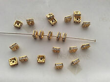 10 Swarovski 4mm Crystal Rhinestones Gold Plated Squaredelle Spacer Beads