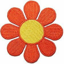 """2"""" Daisy Orange Petals Yellow Center Flower Embroidered Iron On Applique Patch"""