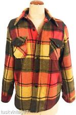 VINTAGE MENS thick WOOL woollen PLAID fur fleece QUILTED lined SHIRT JACKET XS S