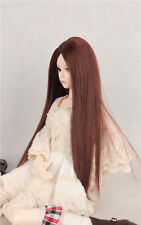 BJD Doll Hair Wig 7-8 inch Brown central parting 1/4 MSD DZ DOD LUTS