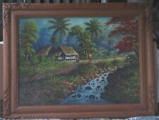 Large Vietnamese Oil-1960's-Hut By Stream With Two Women-Signed-Sleeper