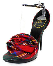 ROGER VIVIER Fall 2012 Red Tartan Plaid Flannel ROSE N' ROLL Sandals 38