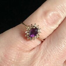 14k Yellow Gold 3/4 Ct Amethyst Halo Pave Diamond Cocktail 14kp Ring 5 1/4