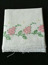 Vintage Embroidered Pink Flowers Pillowcase with Crocheted Trim
