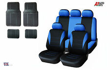BLUE CAR SEAT COVERS & RUBBER CAR MATS SET FOR VAUXHALL CORSA ASTRA VECTRA