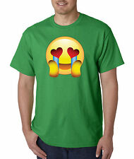 New Way 342 - Unisex T-Shirt Emoji Face Heart Eyes Crying With Joy In Love