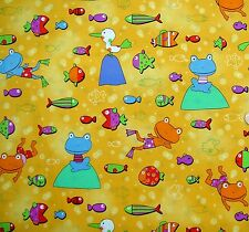 crazy bright frogs & fishes on yellow fabric fq 50 x 56 cm 100% Cotton 3571