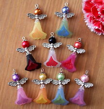 9x Angel Charms Pendants Lucite Frosted Flowers 2 Tones Silver Wings Mixed (Sh)