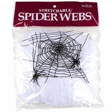 1 Bag of Stretchable Spider Web Webbing Cobweb Halloween Prop + 2 Fake Spiders